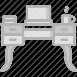 belongings, desk, furniture, households, laptop icon