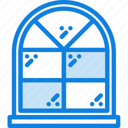 arched, belongings, furniture, households, window icon