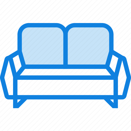 belongings, furniture, households, seated, sofa icon