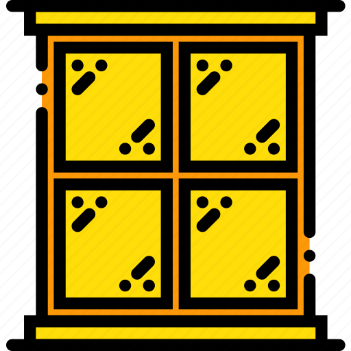 belongings, furniture, households, square, window icon
