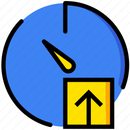 communication, interaction, interface, stopwatch, upload icon