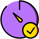 communication, interaction, interface, stopwatch, success icon