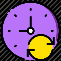 clock, communication, interaction, interface, sync icon