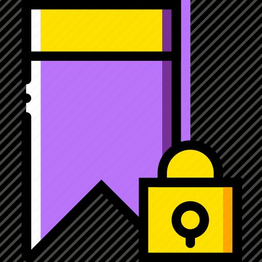 bookmark, communication, interaction, interface, lock icon