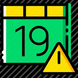 calendar, communication, interaction, interface, warning icon