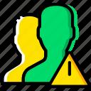 communication, interaction, interface, profiles, warning icon