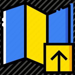 communication, interaction, interface, map, upload icon