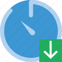 communication, download, interaction, interface, stopwatch icon