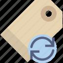 communication, interaction, interface, pricetag, sync icon