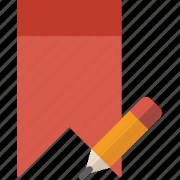 bookmark, communication, edit, interaction, interface icon