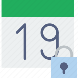 calendar, communication, interaction, interface, lock icon