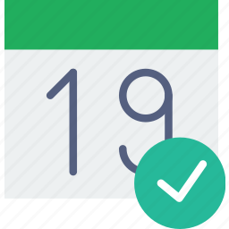 calendar, communication, interaction, interface, success icon