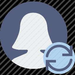 communication, interaction, interface, profile, sync icon