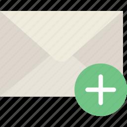 add, communication, interaction, interface, mail icon