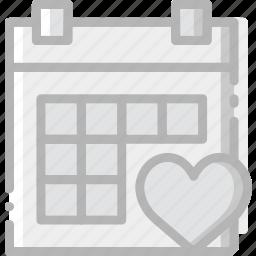 calendar, communication, interaction, interface, like icon