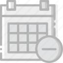 calendar, communication, interaction, interface, substract icon