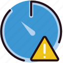 communication, interaction, interface, stopwatch, warning icon