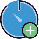 add, communication, interaction, interface, stopwatch icon