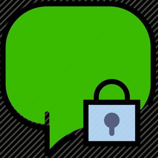 communication, conversation, interaction, interface, lock icon