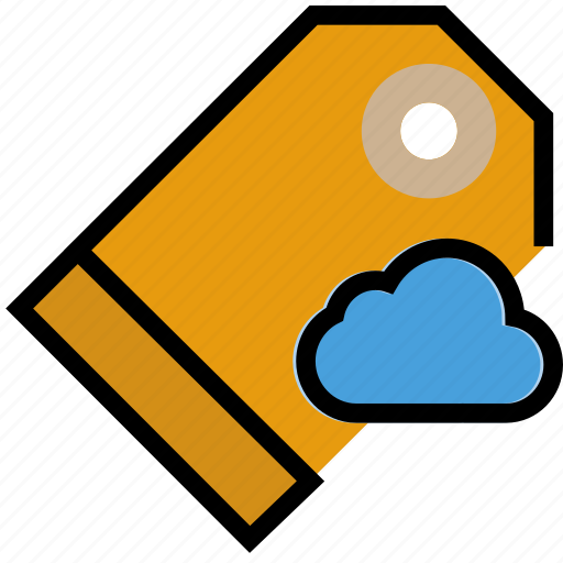 add, cloud, communication, interaction, interface, pricetag, to icon