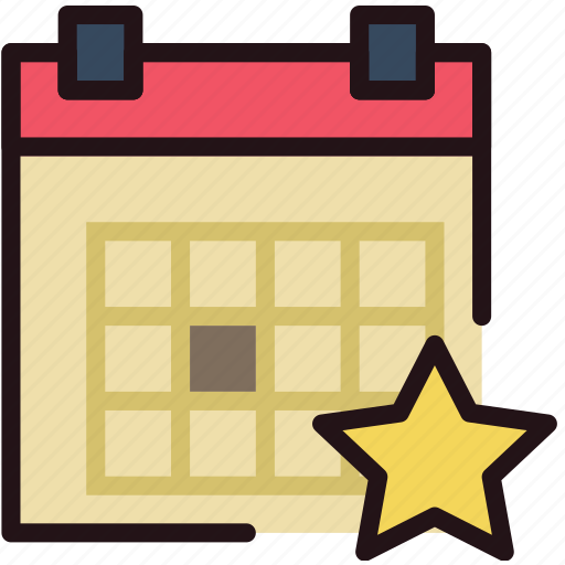 calendar, communication, favorite, interaction, interface icon