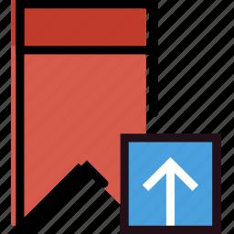 bookmark, communication, interaction, interface, upload icon