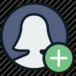 add, communication, interaction, interface, profile icon