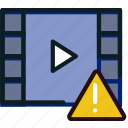 communication, interaction, interface, video, warning icon
