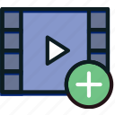 add, communication, interaction, interface, video icon