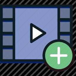 add, communication, interaction, interface, video icon