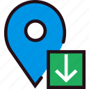 communication, download, interaction, interface, location icon