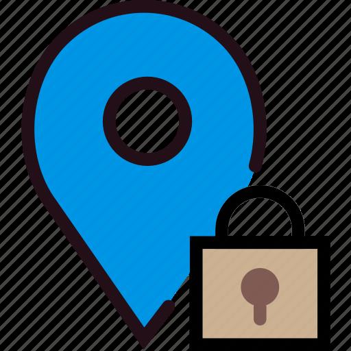 communication, interaction, interface, location, lock icon