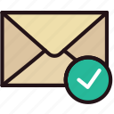 communication, interaction, interface, mail, success icon