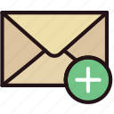add, communication, interaction, interface, mail icon