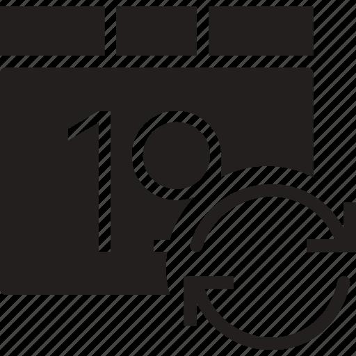 calendar, communication, interaction, interface, sync icon