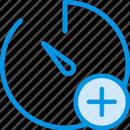 add, communication, interaction, interface, stopwatch icon