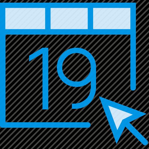 calendar, click, communication, interaction, interface icon