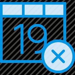 calendar, communication, delete, interaction, interface icon