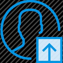 communication, interaction, interface, profile, upload icon