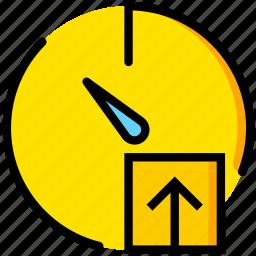 communication, interaction, interface, stopwatch, upload icon