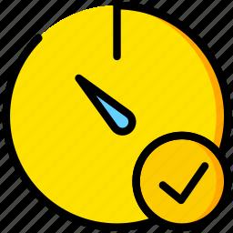 communication, interaction, interface, stopwatch, success icon