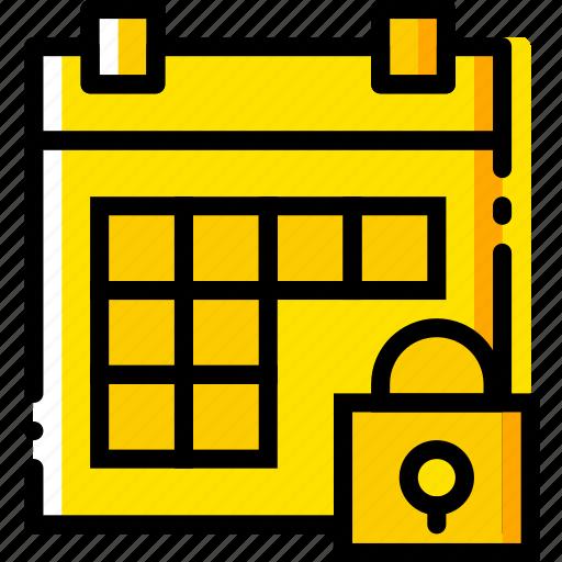 calendar, communication, interaction, interface, lock icon
