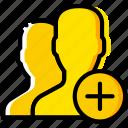add, communication, interaction, interface, profiles icon