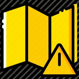 communication, interaction, interface, map, warning icon
