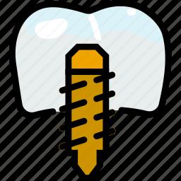 health, healthcare, medical, molar, screw icon