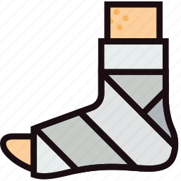 bandaged, foot, health, healthcare, medical icon