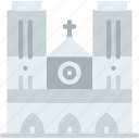 big, building, cathedral, dame, monument, notre, tall icon