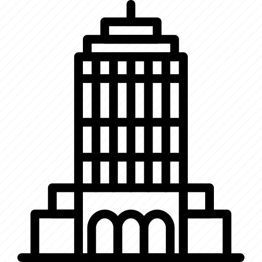 big, building, empire, monument, outline, state, tall icon