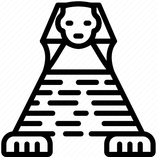 big, building, giza, great, monument, outline, sphinx icon