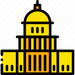 building, capitol, monument, states, united, yellow icon